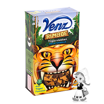 Flocos de chocolate de leite e baunilha Venz Jungle tiger 200 g